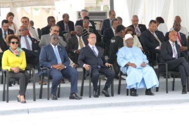 De g à d , Michaelle Jean (Francophonie), Macky Sall (Sénégal), François Hollande (France), Ibrahim Boubacar Traoré (Mali), Michel Martelly (Haïti)