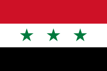 Drapeau de la République Arabe Syrienne (1963-72). Trois étoiles pour Egypte, Syrie, Irak