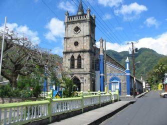 Eglise de Soufrière, une des 11 paroisses de Ste Lucie