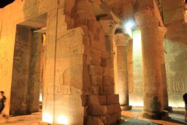 Kom Ombo, le mur séparant les deux parties du double temple