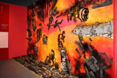 Le débris des corps de Delgrès et ses compagnons (oeuvre de Schuckone, artiste guadeloupéen)