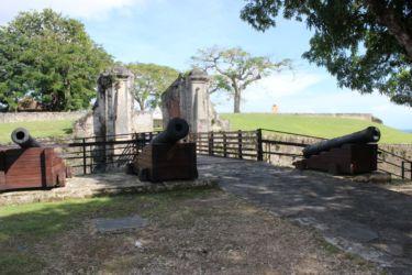 Les canons et les piliers de l'entrée